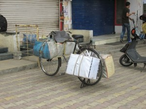 Bread, buns and packaged bakery items delivered in the morning by bike.
