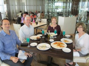 Sunday lunch at the Marriott Hotel with Henryk, Richard and Bobby.