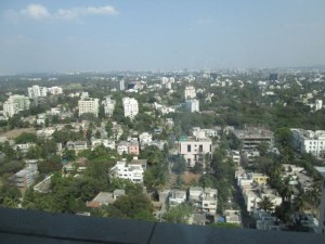 View of Pune from the 24th floor of the Marriott Hotel.